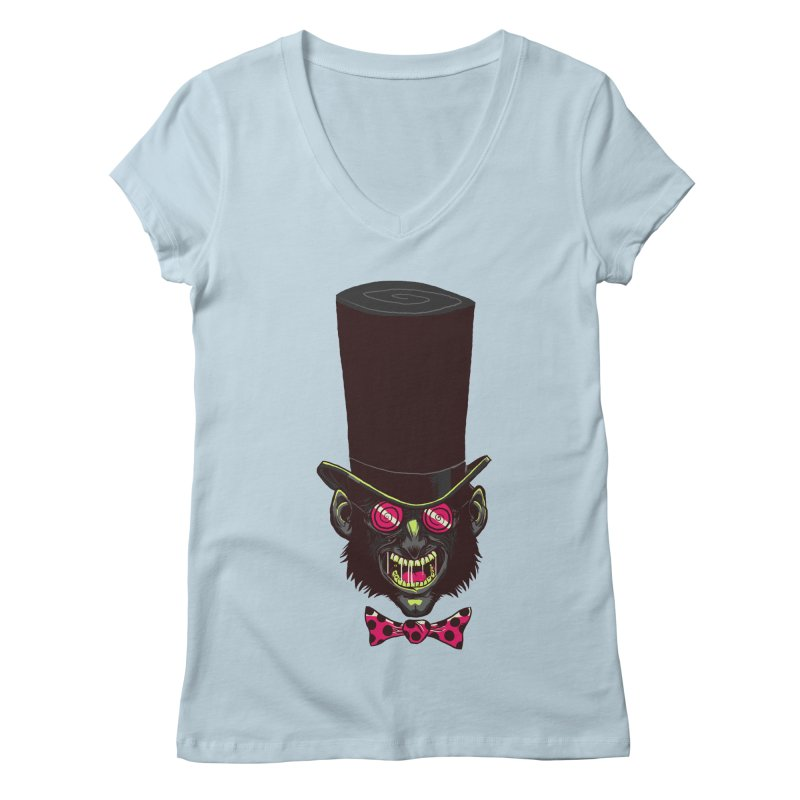 Mad Hatter Women's Regular V-Neck by Drawsgood Illustration and Design