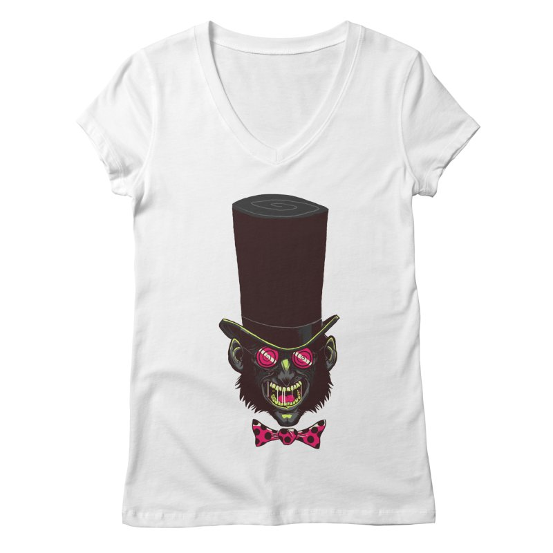 Mad Hatter Women's V-Neck by Drawsgood Illustration and Design