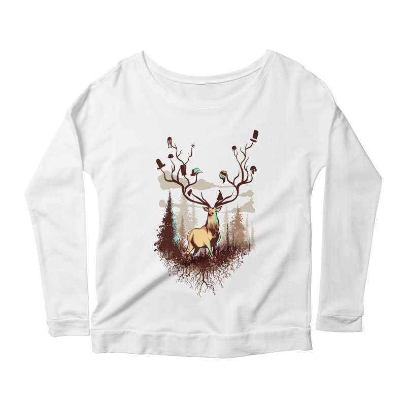 A Rustic Hat Rack Women's Scoop Neck Longsleeve T-Shirt by Drawsgood Illustration and Design
