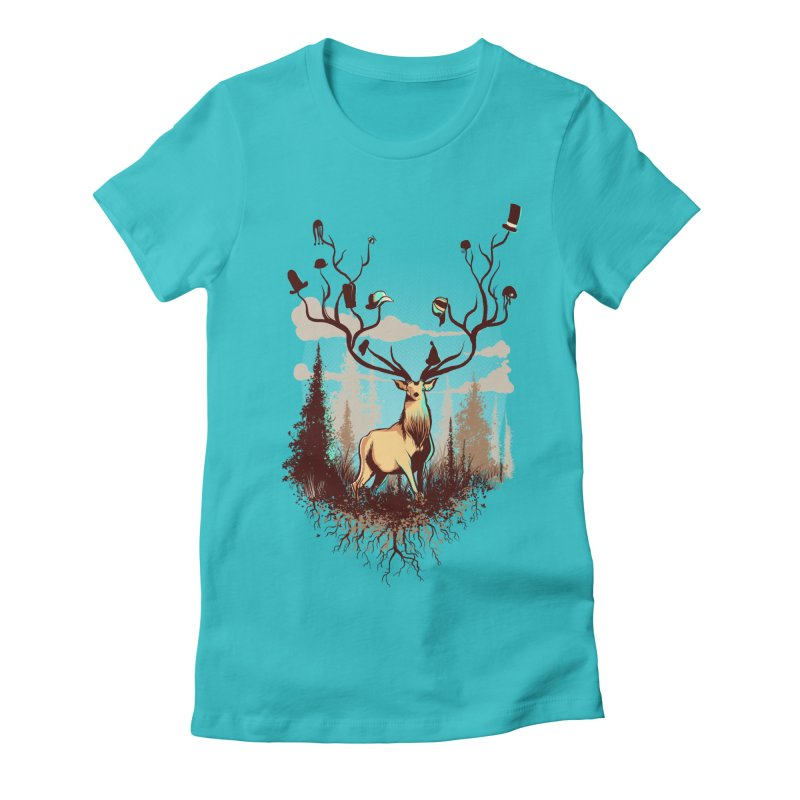 A Rustic Hat Rack Women's Fitted T-Shirt by Drawsgood Illustration and Design