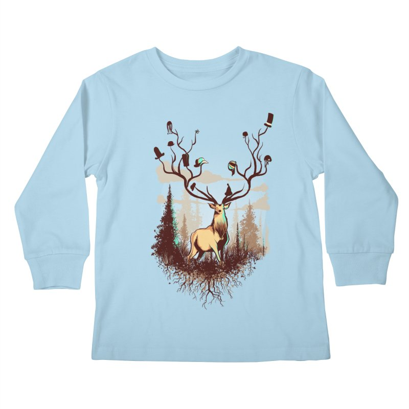 A Rustic Hat Rack Kids Longsleeve T-Shirt by Drawsgood Illustration and Design