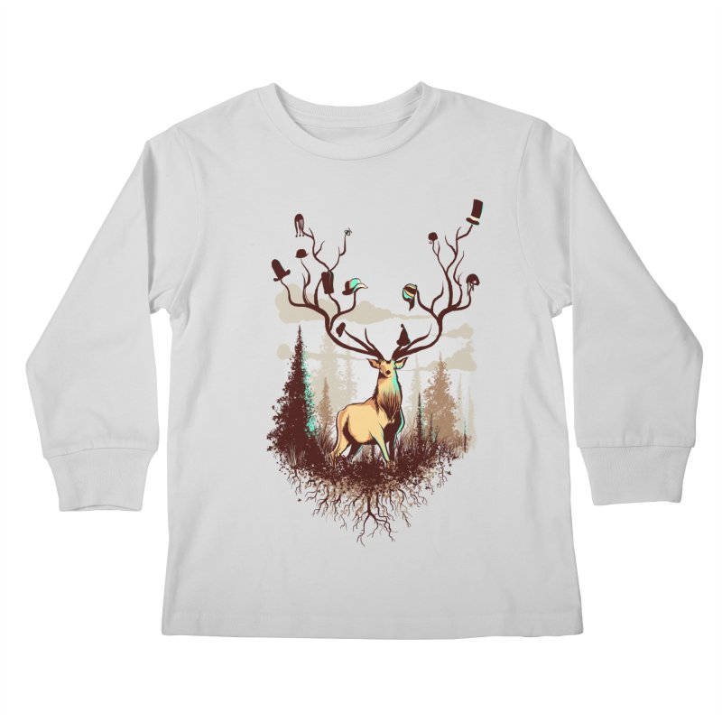 A Rustic Hat Rack Kids Longsleeve T-Shirt by Drawsgood Illustration and Design