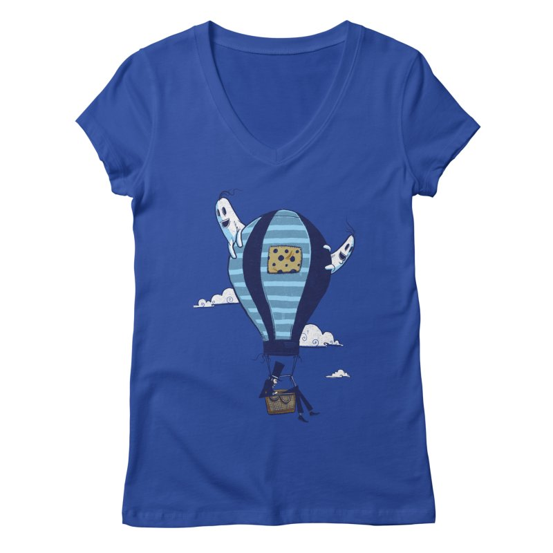 Hot Air Balloon Women's V-Neck by Drawsgood Illustration and Design