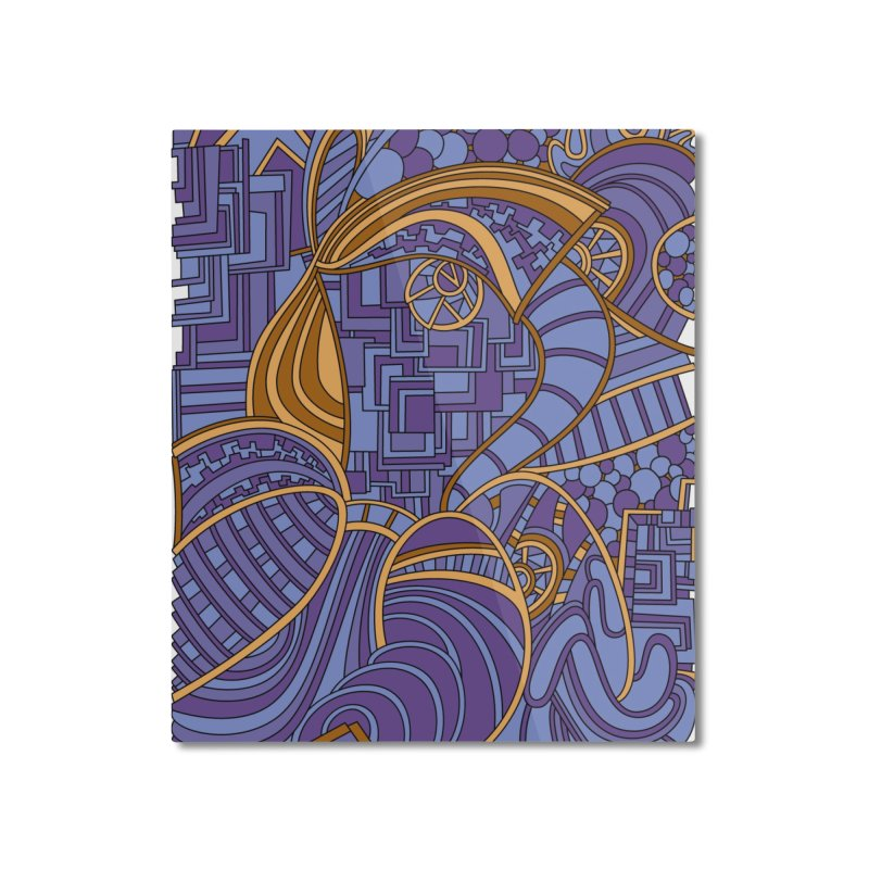 Wandering Abstract Line Art 48: Purple Home Mounted Aluminum Print by Dream Ripple