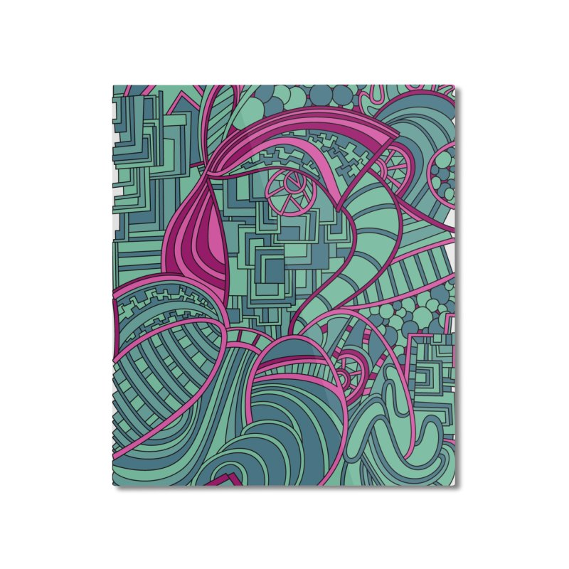 Wandering Abstract Line Art 48: Magenta Home Mounted Aluminum Print by Dream Ripple