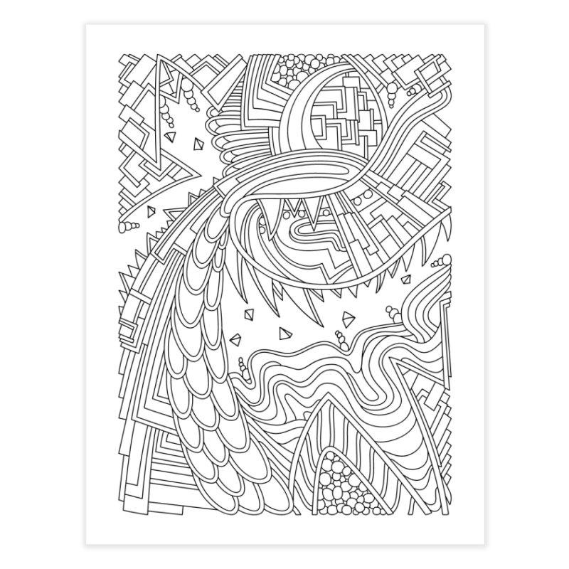 Wandering Abstract Line Art 49: Black & White Home Fine Art Print by Dream Ripple