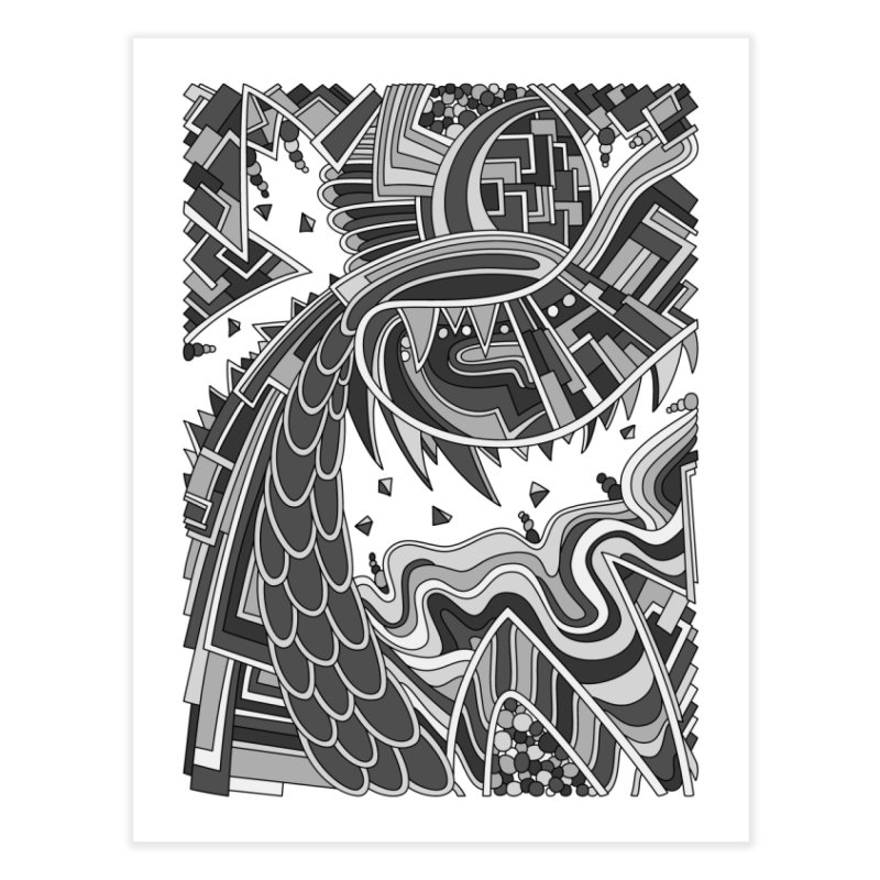 Wandering Abstract Line Art 49: Grayscale Home Fine Art Print by Dream Ripple