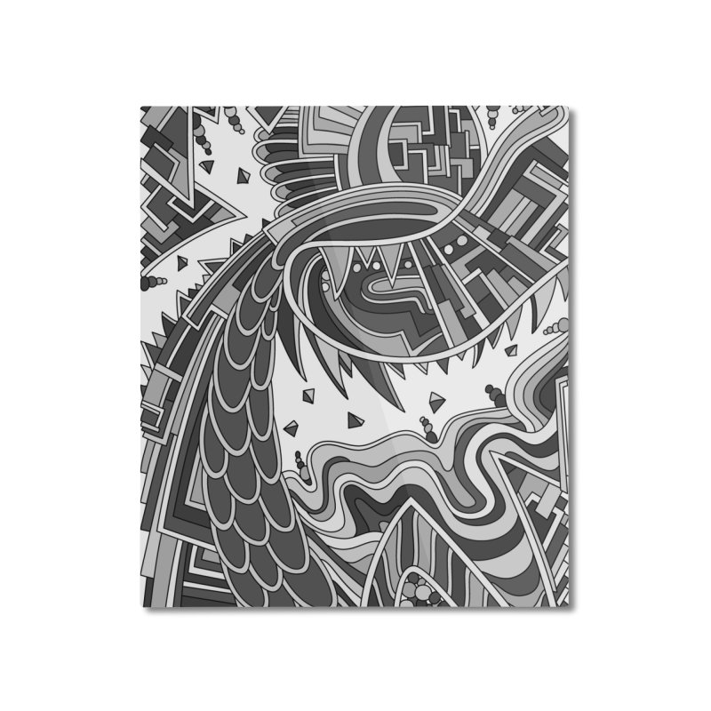 Wandering Abstract Line Art 49: Grayscale Home Mounted Aluminum Print by Dream Ripple