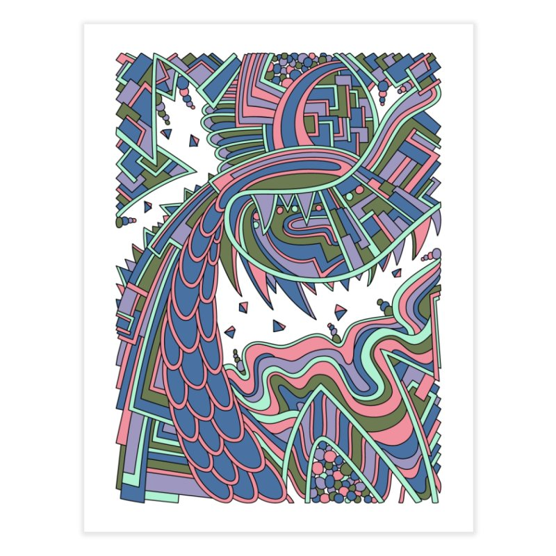 Wandering Abstract Line Art 49: Coral Home Fine Art Print by Dream Ripple