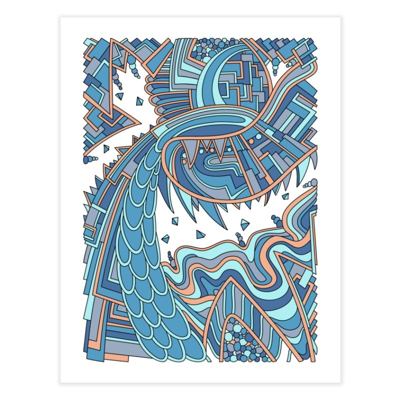 Wandering Abstract Line Art 49: Blue Home Fine Art Print by Dream Ripple
