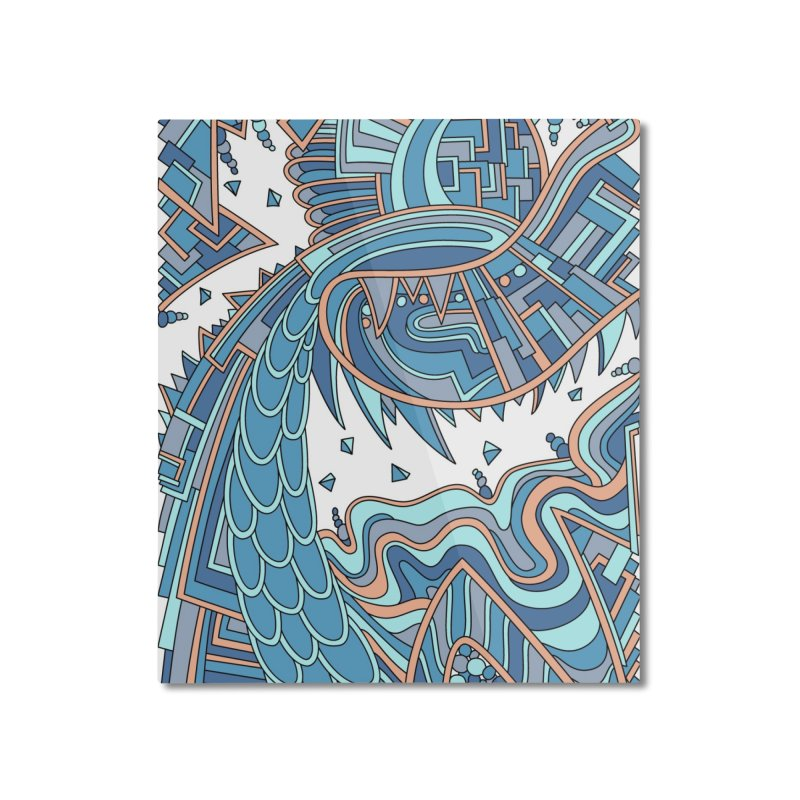 Wandering Abstract Line Art 49: Blue Home Mounted Aluminum Print by Dream Ripple