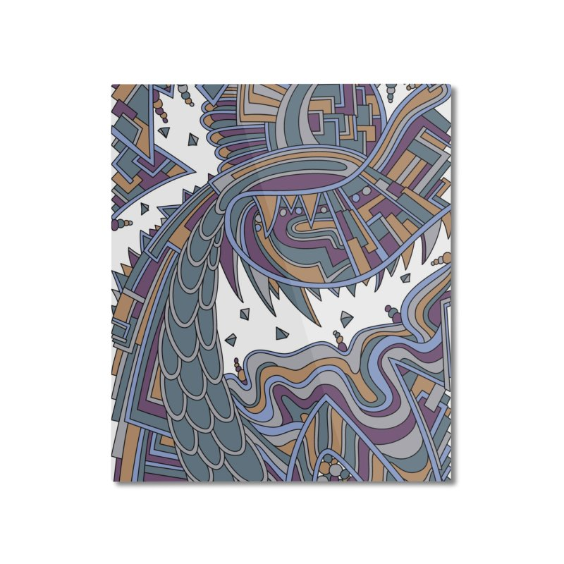 Wandering Abstract Line Art 49: Gold Home Mounted Aluminum Print by Dream Ripple