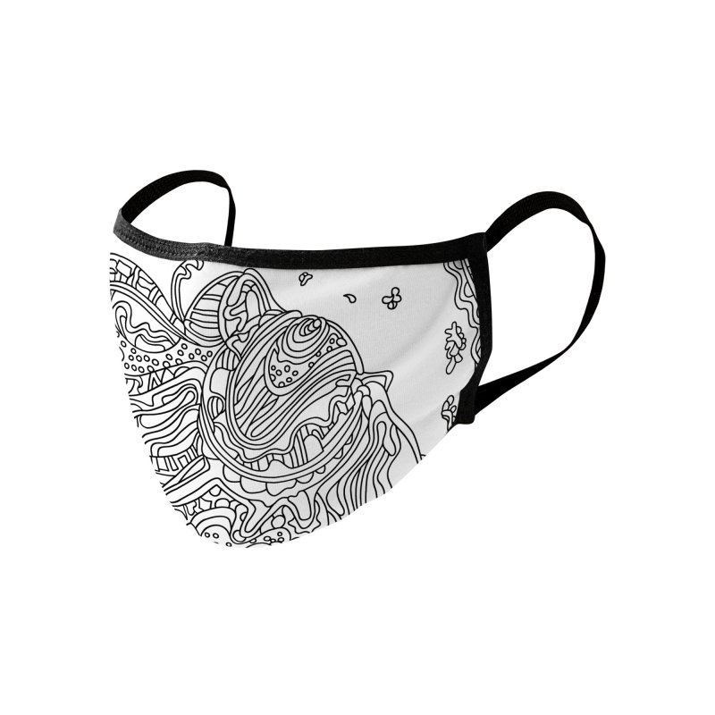 Wandering Abstract Line Art 50: Black & White Accessories Face Mask by Dream Ripple