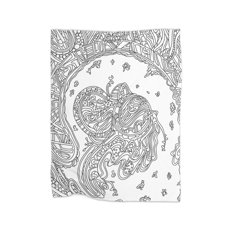 Wandering Abstract Line Art 50: Black & White Home Blanket by Dream Ripple