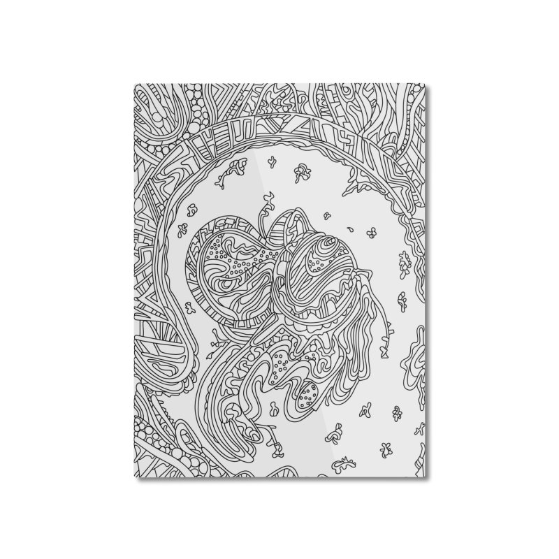 Wandering Abstract Line Art 50: Black & White Home Mounted Aluminum Print by Dream Ripple