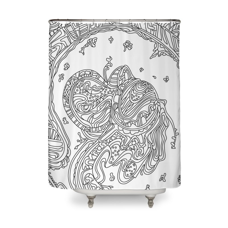 Wandering Abstract Line Art 50: Black & White Home Shower Curtain by Dream Ripple