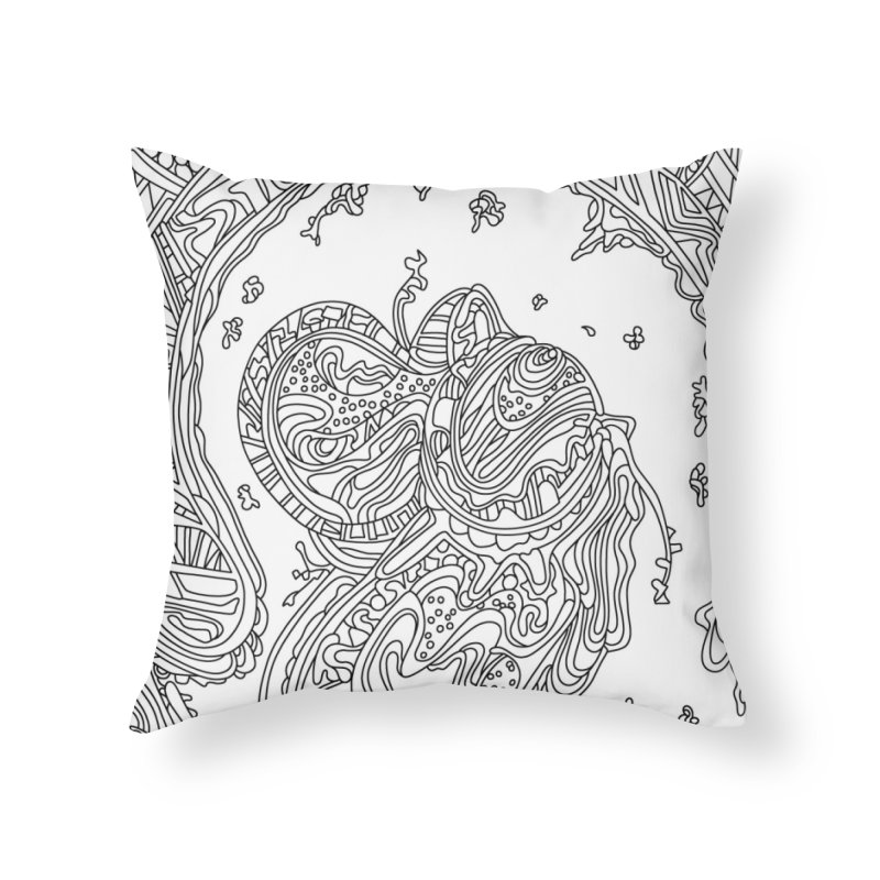 Wandering Abstract Line Art 50: Black & White Home Throw Pillow by Dream Ripple