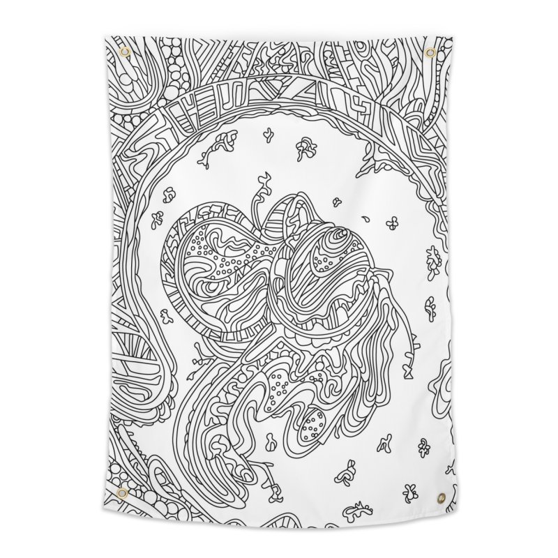 Wandering Abstract Line Art 50: Black & White Home Tapestry by Dream Ripple