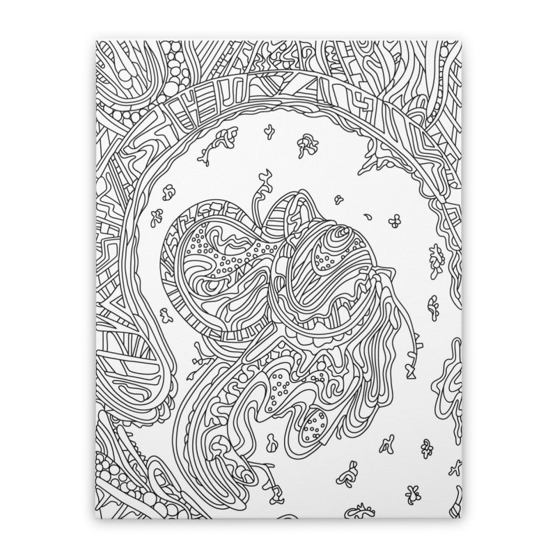 Wandering Abstract Line Art 50: Black & White Home Stretched Canvas by Dream Ripple
