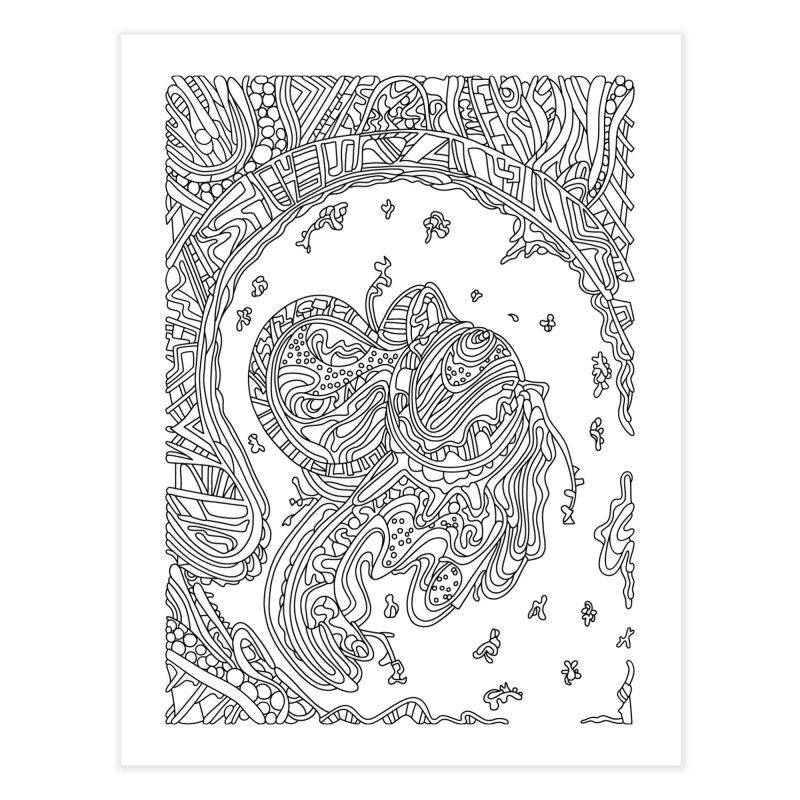 Wandering Abstract Line Art 50: Black & White Home Fine Art Print by Dream Ripple