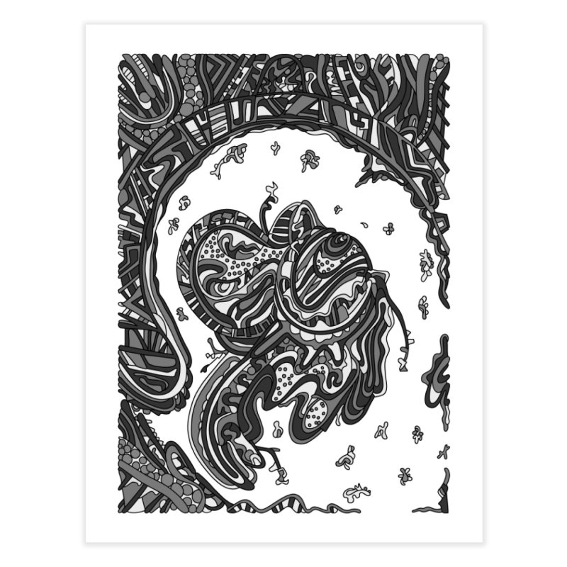 Wandering Abstract Line Art 50: Grayscale Home Fine Art Print by Dream Ripple