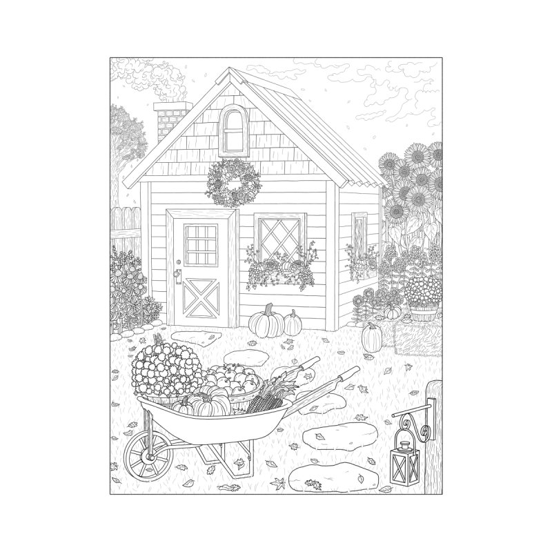 Autumn Cottage Coloring Page Home Fine Art Print by Dream Ripple