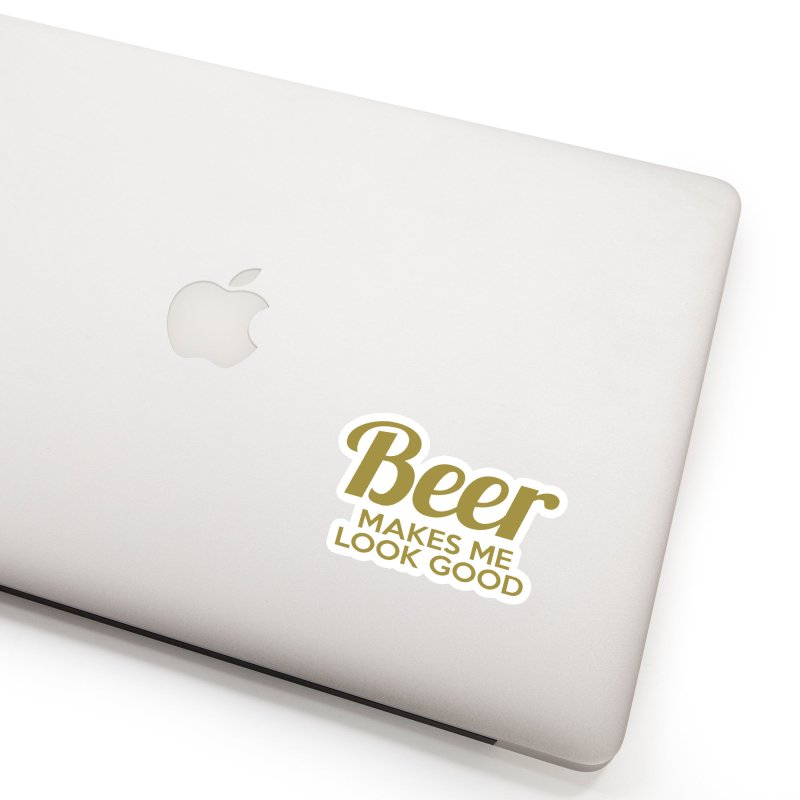 Beer Makes Me Look Good Accessories Sticker by Drinking Humor