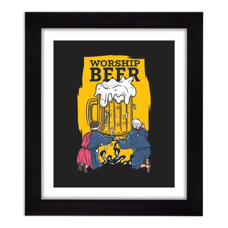 Worship Beer Home Decor Framed Fine Art Print by Drinking Humor