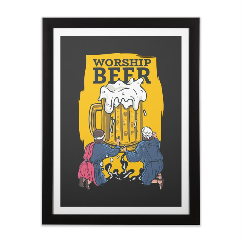 Worship Beer Home Framed Fine Art Print by Drinking Humor
