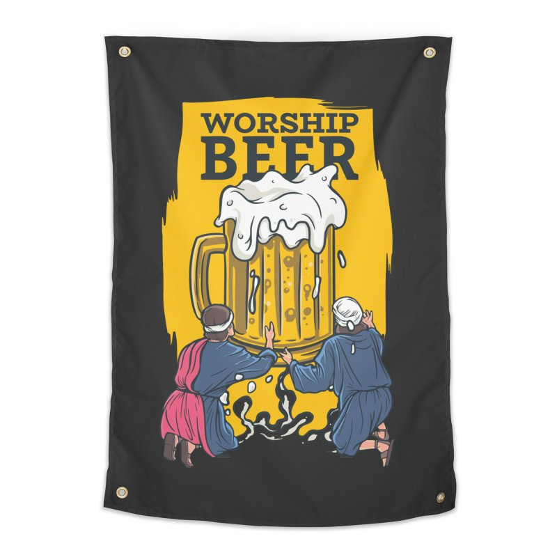 Worship Beer Home Tapestry by Drinking Humor