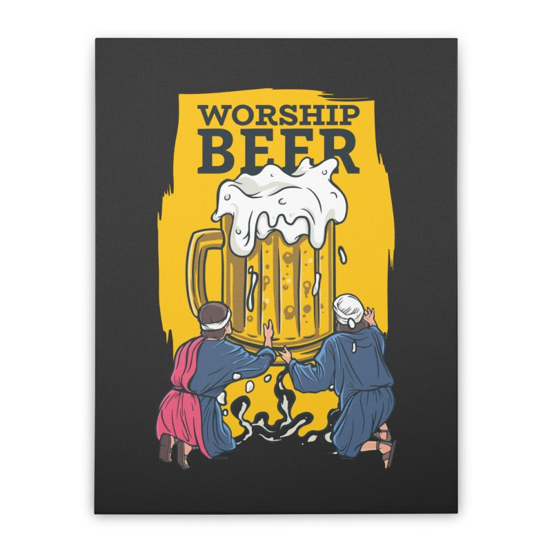 Worship Beer Home Decor Stretched Canvas by Drinking Humor