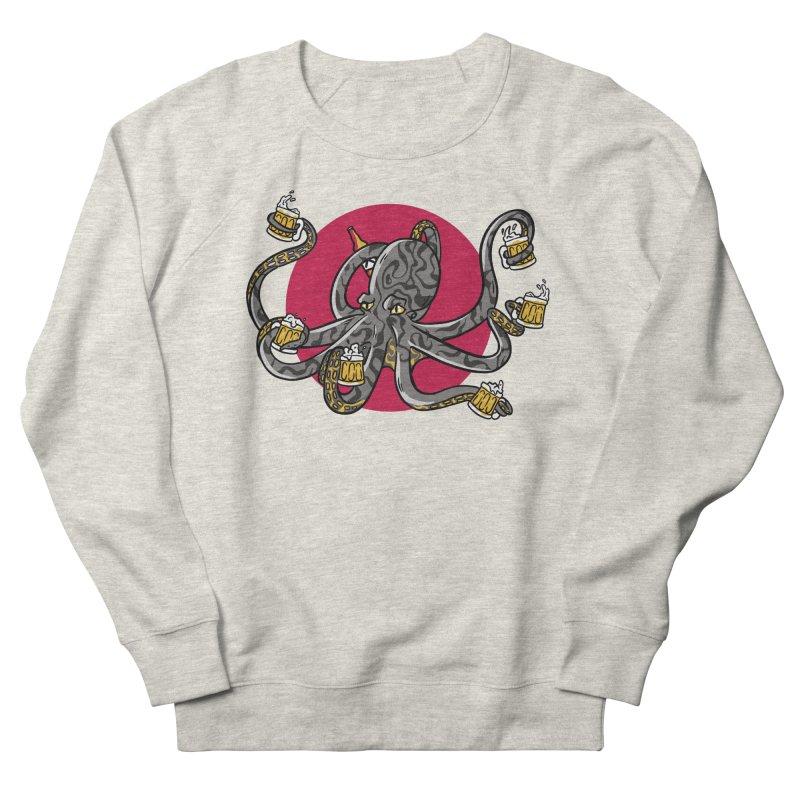 Beer Drinking Octopus Men's Sweatshirt by Drinking Humor