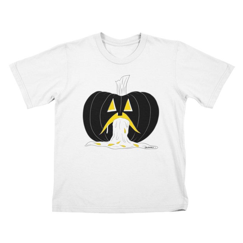 Puking Pumpkin Kids T-Shirt by Dripface