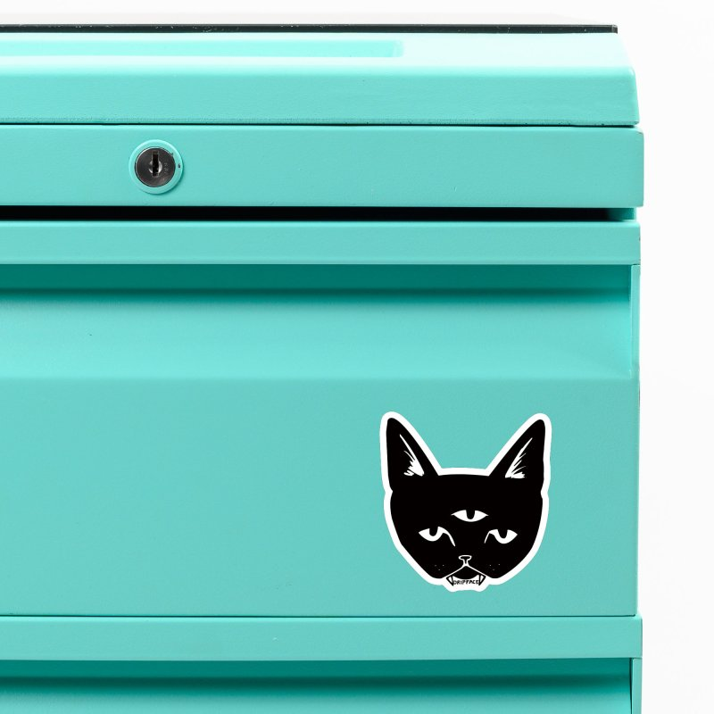 Three Eyed Cat Accessories Magnet by Dripface