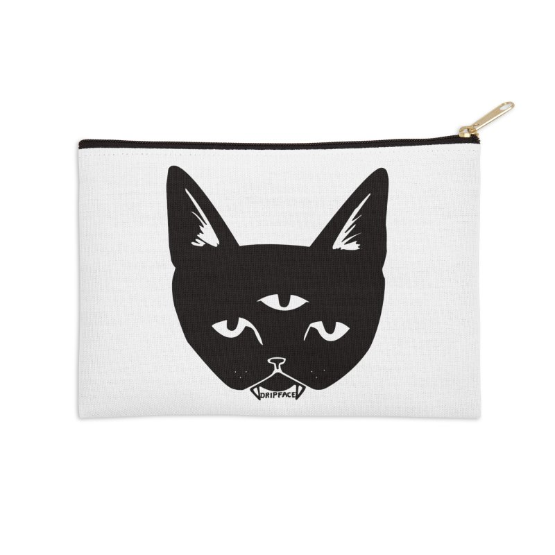 Three Eyed Cat Accessories Zip Pouch by Dripface