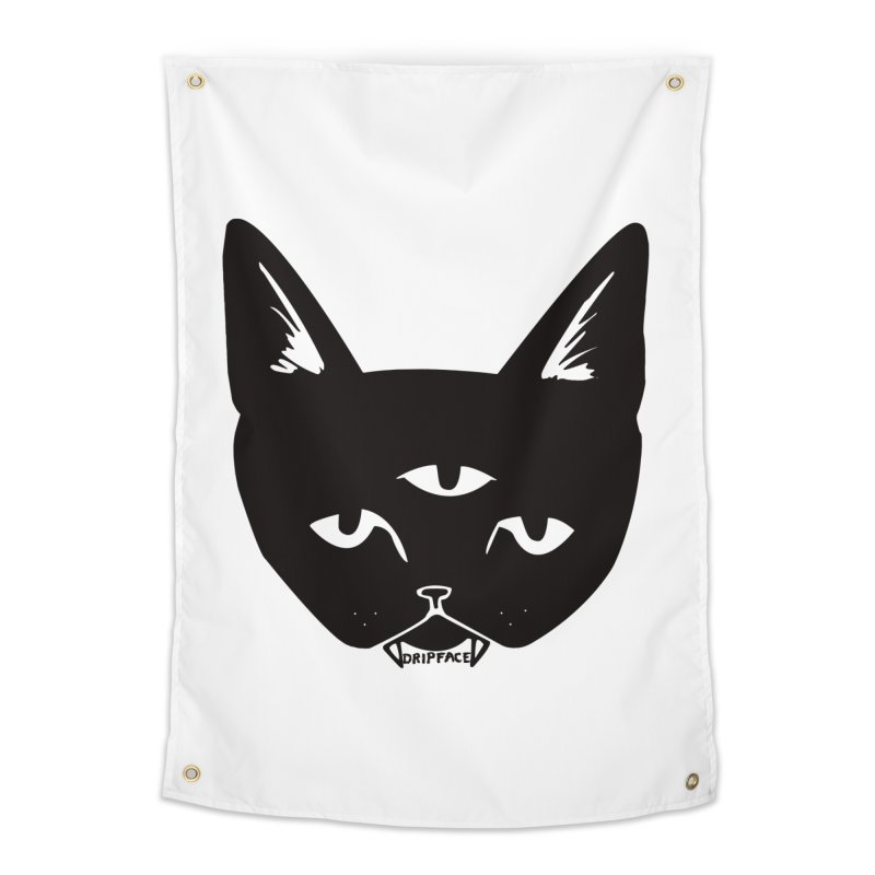 Three Eyed Cat Home Tapestry by Dripface