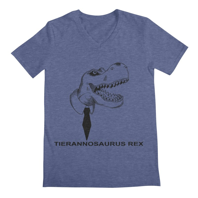 TIERANNOSARUS REX Men's Regular V-Neck by droidmonkey's Artist Shop