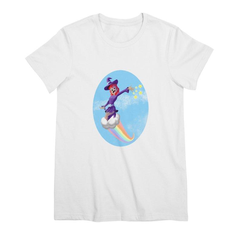 WITCH GIRL ON A CLOUD Women's Premium T-Shirt by droidmonkey's Artist Shop