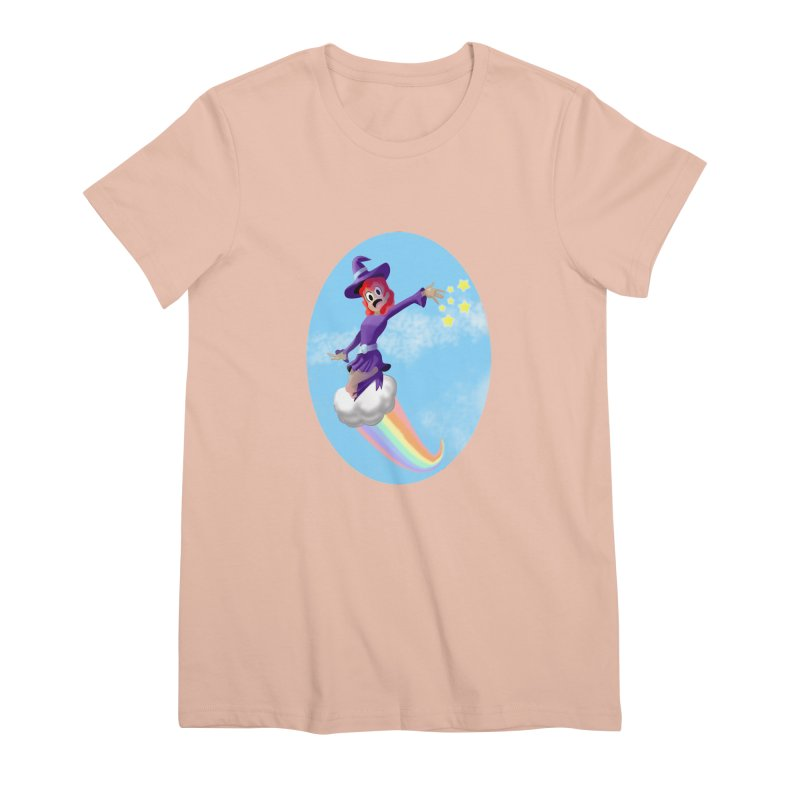 WITCH GIRL ON A CLOUD Women's Premium T-Shirt by droidmonkey's Artist Shop