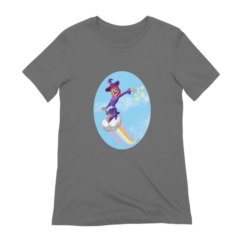 WITCH GIRL ON A CLOUD Women's T-Shirt by droidmonkey's Artist Shop