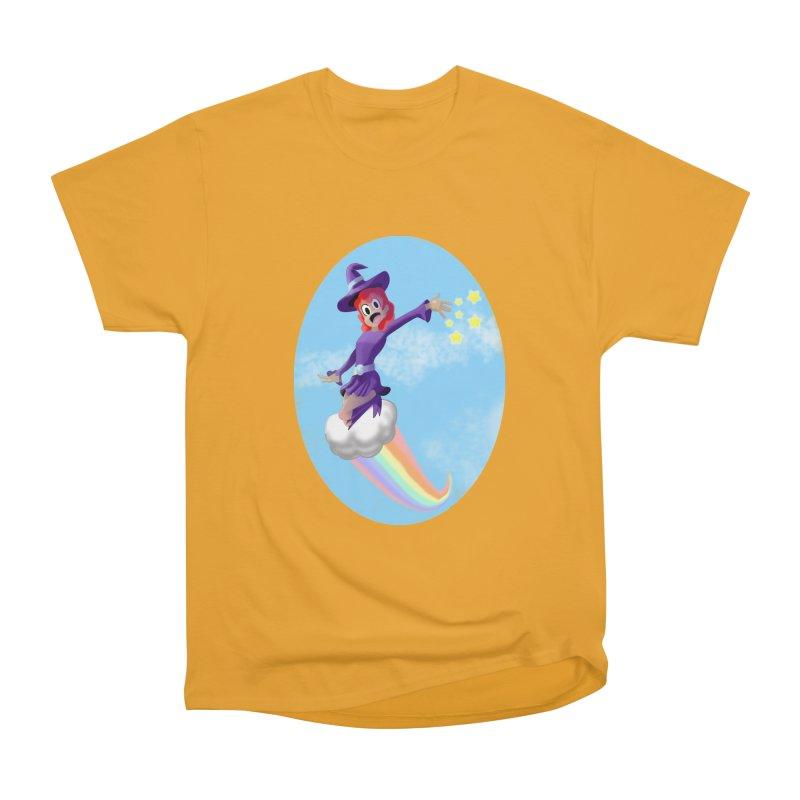 WITCH GIRL ON A CLOUD Men's Heavyweight T-Shirt by droidmonkey's Artist Shop