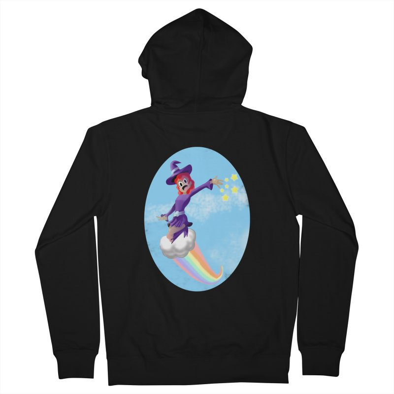 WITCH GIRL ON A CLOUD Women's French Terry Zip-Up Hoody by droidmonkey's Artist Shop