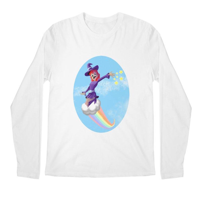 WITCH GIRL ON A CLOUD Men's Regular Longsleeve T-Shirt by droidmonkey's Artist Shop