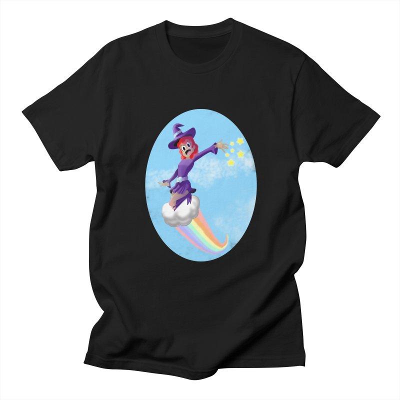 WITCH GIRL ON A CLOUD Women's Regular Unisex T-Shirt by droidmonkey's Artist Shop