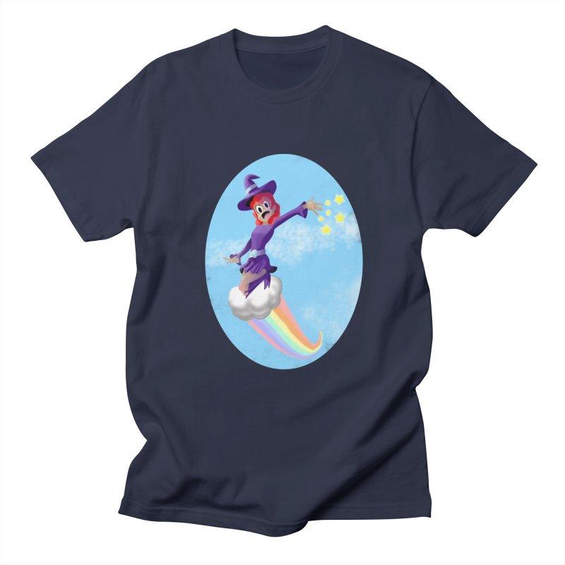 WITCH GIRL ON A CLOUD Men's Regular T-Shirt by droidmonkey's Artist Shop