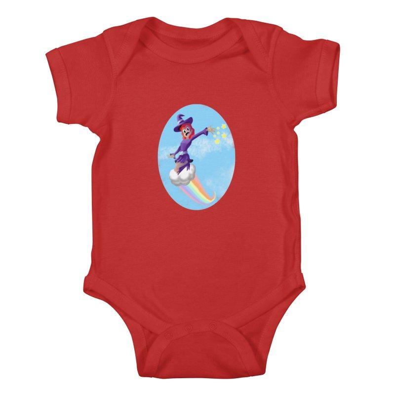 WITCH GIRL ON A CLOUD Kids Baby Bodysuit by droidmonkey's Artist Shop