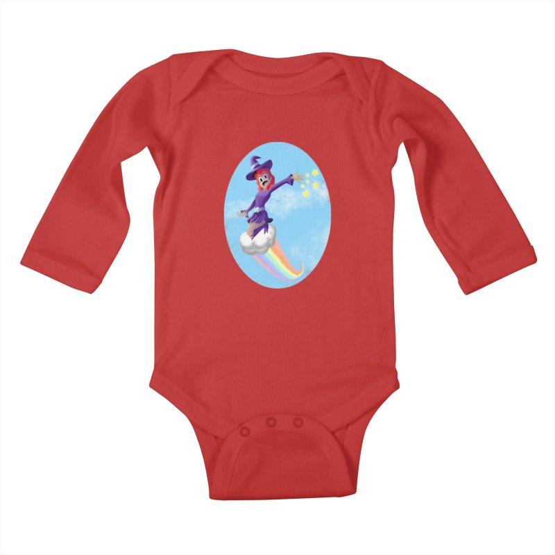 WITCH GIRL ON A CLOUD Kids Baby Longsleeve Bodysuit by droidmonkey's Artist Shop