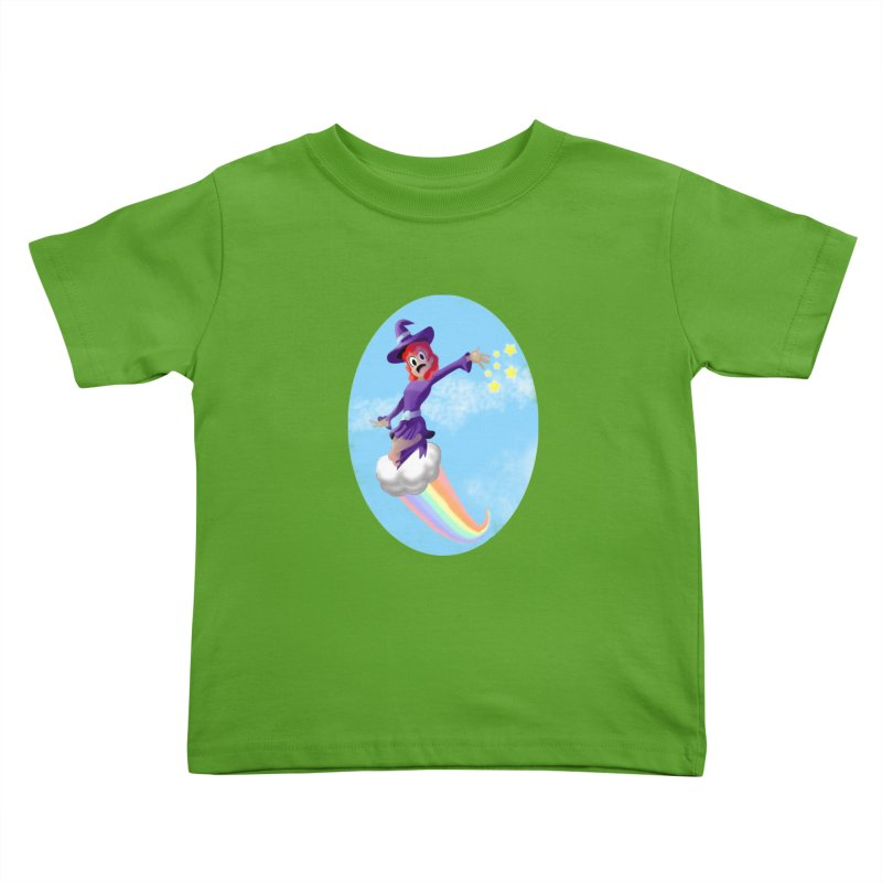 WITCH GIRL ON A CLOUD Kids Toddler T-Shirt by droidmonkey's Artist Shop