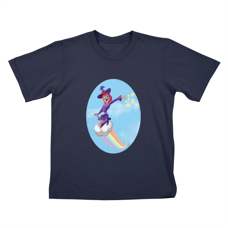 WITCH GIRL ON A CLOUD Kids T-Shirt by droidmonkey's Artist Shop