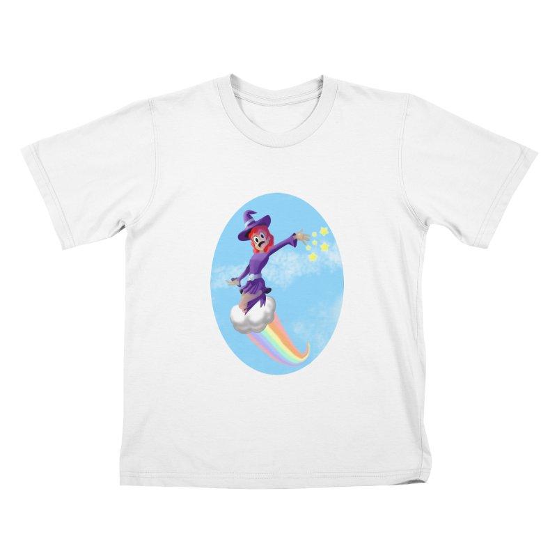 WITCH GIRL ON A CLOUD Kids T-Shirt by droidmonkey's Artist Shop